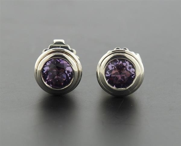 John Hardy Bedeg Batu Sterling Amethyst Stud Earrings