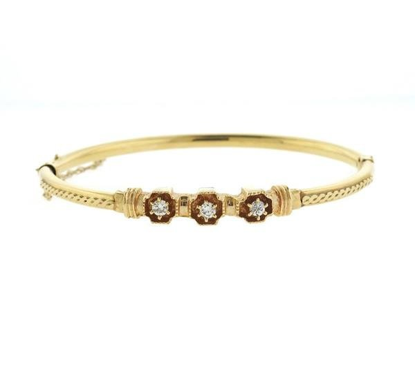 Antique 14K Gold Diamond Bangle Bracelet