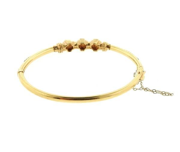 Antique 14K Gold Diamond Bangle Bracelet - 2