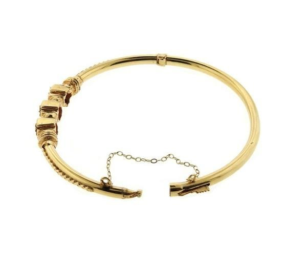 Antique 14K Gold Diamond Bangle Bracelet - 3