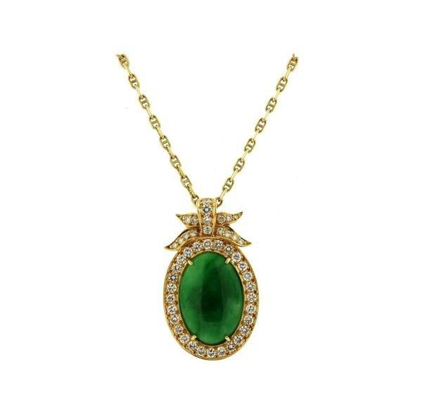 18k Gold Jade Diamond Pendant Necklace