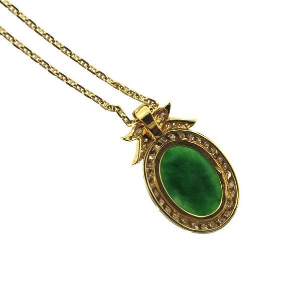18k Gold Jade Diamond Pendant Necklace - 2