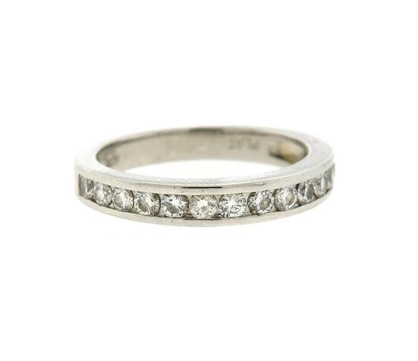 Platinum Diamond Half Band Wedding Ring