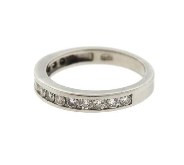 Platinum Diamond Half Band Wedding Ring - 2