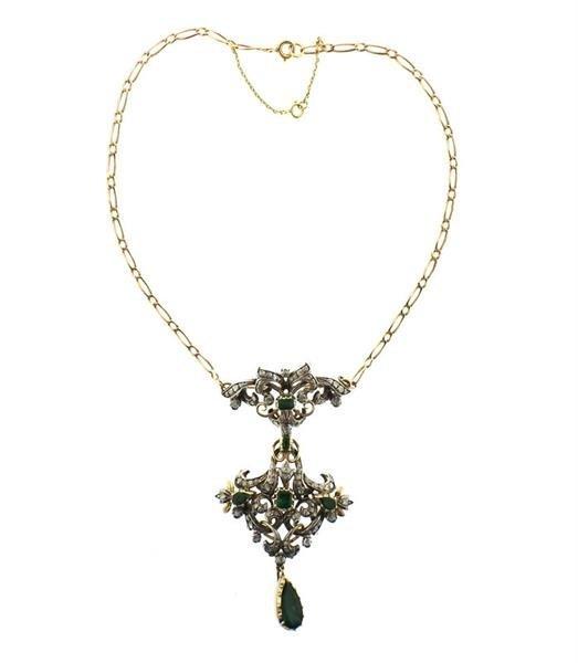 18k Gold Silver Emerald Diamond Pendant Brooch Necklace