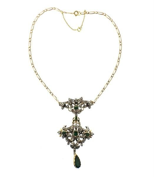 18k Gold Silver Emerald Diamond Pendant Brooch Necklace