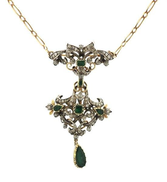 18k Gold Silver Emerald Diamond Pendant Brooch Necklace - 2