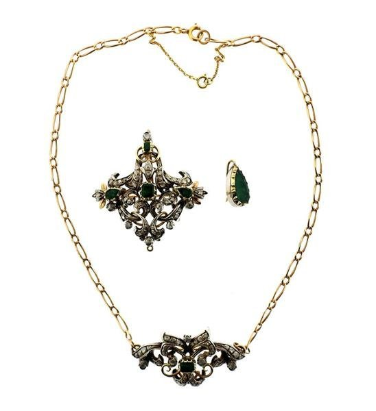 18k Gold Silver Emerald Diamond Pendant Brooch Necklace - 5