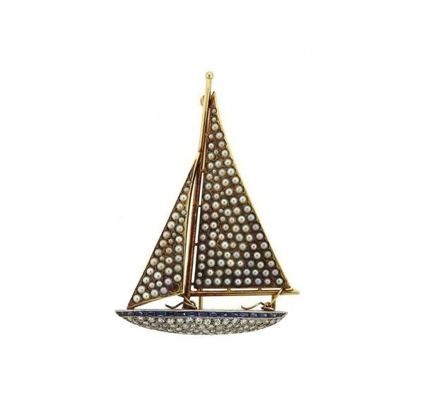 Antique 18k Gold Diamond Sapphire Pearl Sail Boat