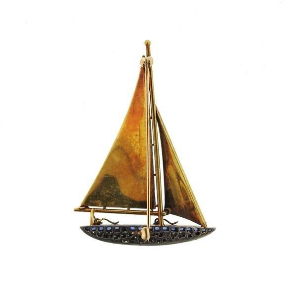 Antique 18k Gold Diamond Sapphire Pearl Sail Boat - 3