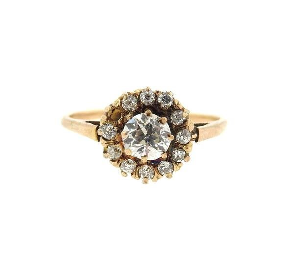 Antique 14k Gold Diamond Engagement Ring