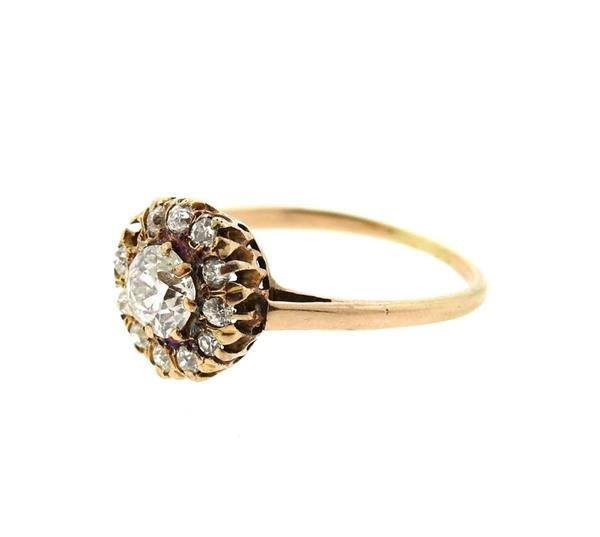 Antique 14k Gold Diamond Engagement Ring - 2