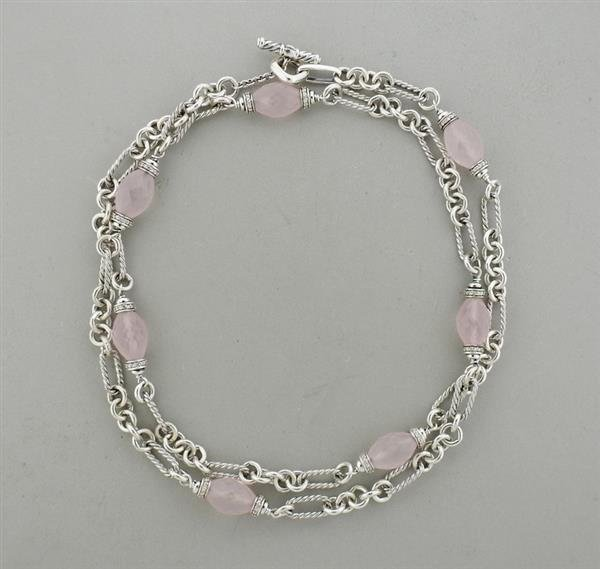 David Yurman Sterling Rose Quartz Diamond Necklace