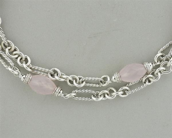 David Yurman Sterling Rose Quartz Diamond Necklace - 2