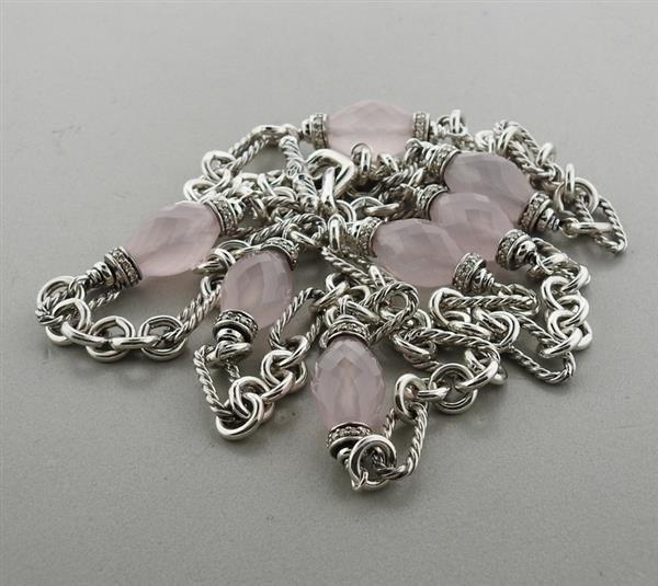 David Yurman Sterling Rose Quartz Diamond Necklace - 4