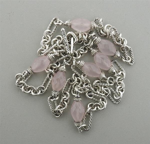 David Yurman Sterling Rose Quartz Diamond Necklace - 5