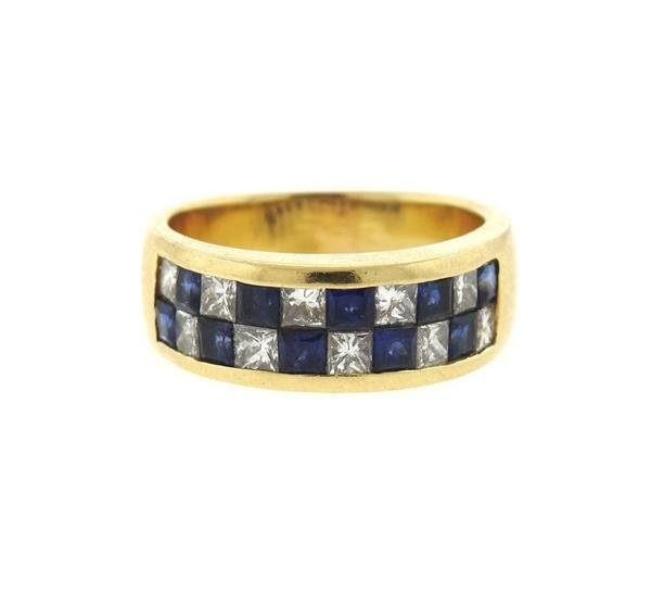 14k Gold Diamond Sapphire Half Band Ring