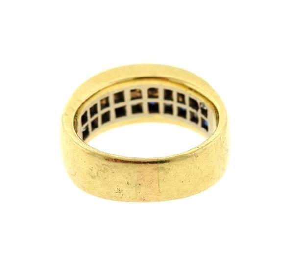 14k Gold Diamond Sapphire Half Band Ring - 2