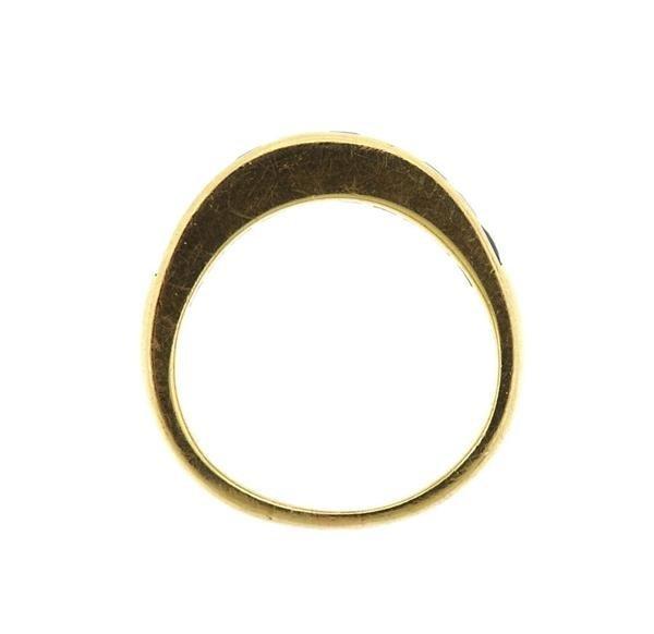 14k Gold Diamond Sapphire Half Band Ring - 3