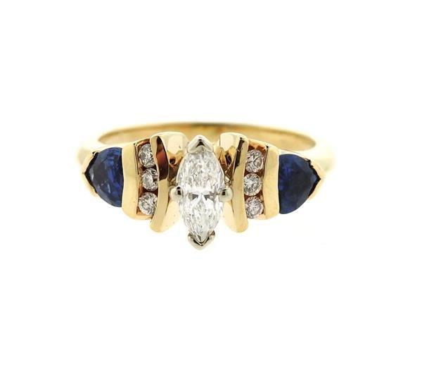 14k Gold Diamond Tanzanite Engagement Ring