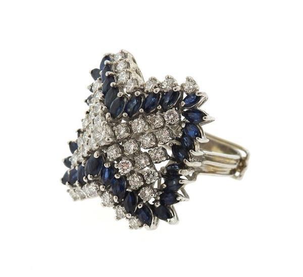 14k Gold 2.00ctw Diamond Sapphire Ring - 2