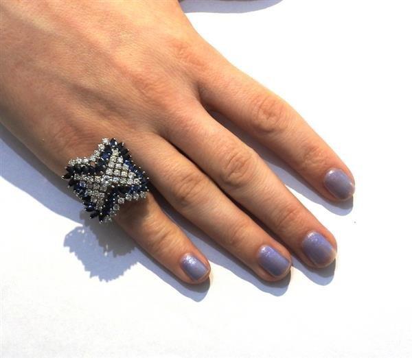 14k Gold 2.00ctw Diamond Sapphire Ring - 5