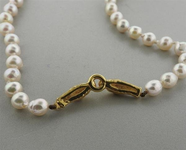 18k Gold Pearl Necklace - 4