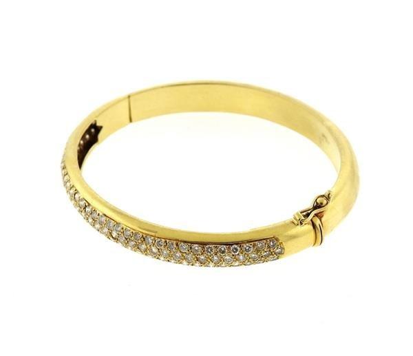 18k Gold Diamond Bangle Bracelet - 2