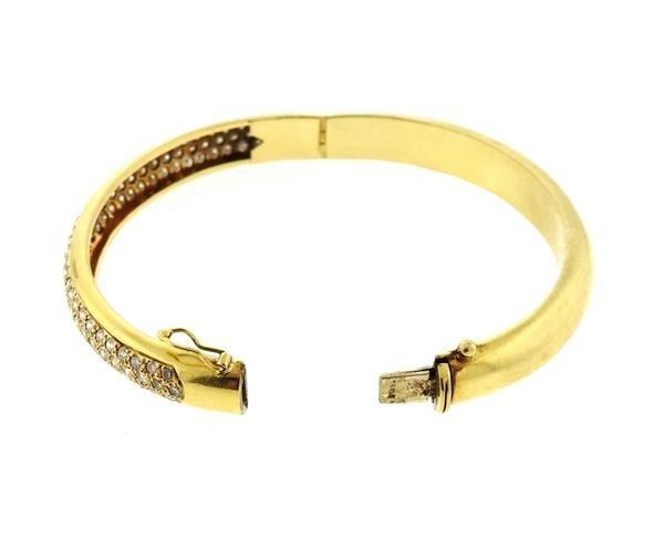 18k Gold Diamond Bangle Bracelet - 4