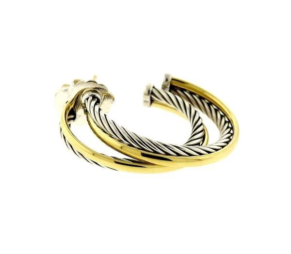 David Yurman Sterling 18k Gold Cable Hoop Earrings