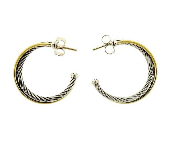 David Yurman Sterling 18k Gold Cable Hoop Earrings - 2