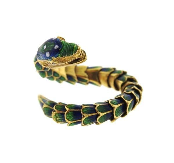 18k Gold Enamel Snake Flexible Ring