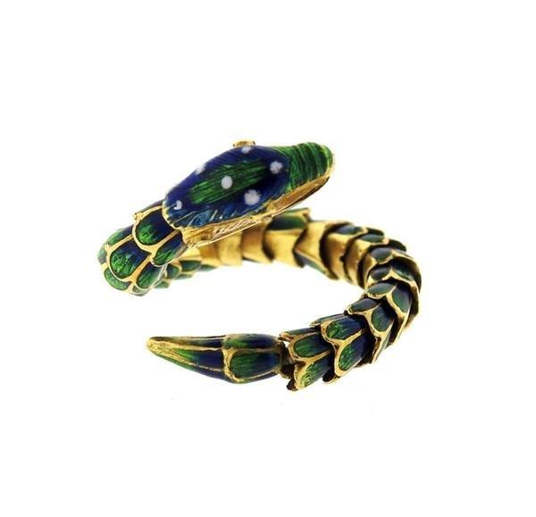 18k Gold Enamel Snake Flexible Ring - 2