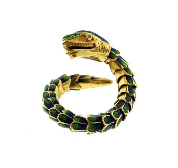 18k Gold Enamel Snake Flexible Ring - 3
