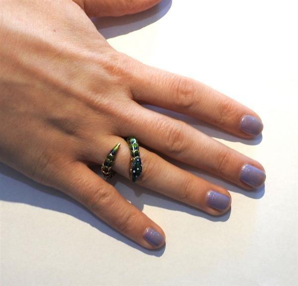 18k Gold Enamel Snake Flexible Ring - 4