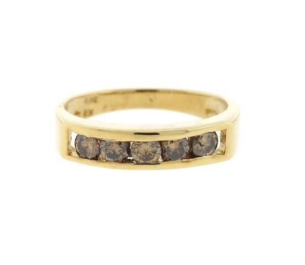 14K Gold Fancy Diamond  Band Ring