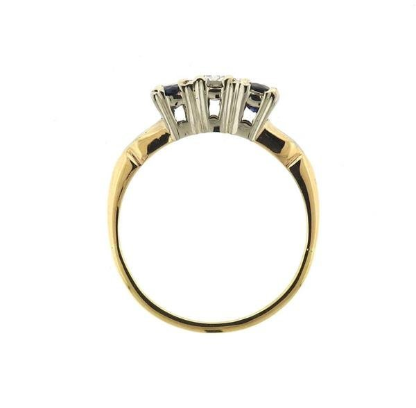 14K Gold Sapphire Diamond Ring - 3