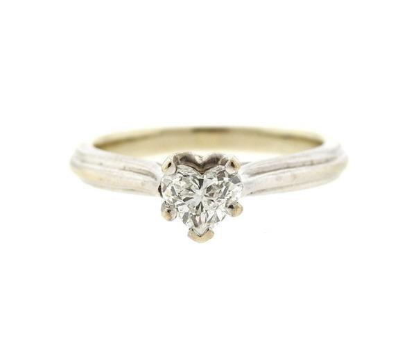 14k Gold Heart Diamond Engagement Ring