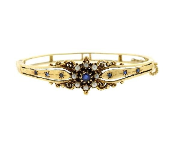 Antique 14k Gold Pearl Blue Stone Bangle Bracelet