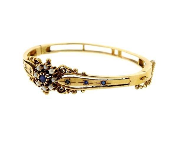 Antique 14k Gold Pearl Blue Stone Bangle Bracelet - 2