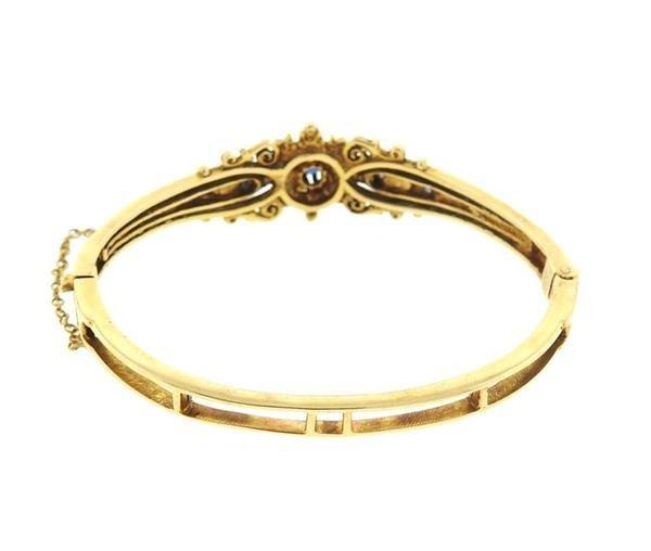 Antique 14k Gold Pearl Blue Stone Bangle Bracelet - 3