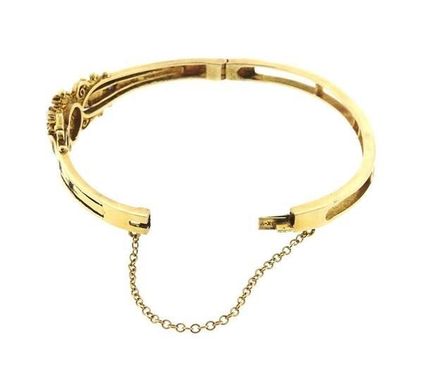 Antique 14k Gold Pearl Blue Stone Bangle Bracelet - 4
