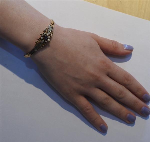 Antique 14k Gold Pearl Blue Stone Bangle Bracelet - 5