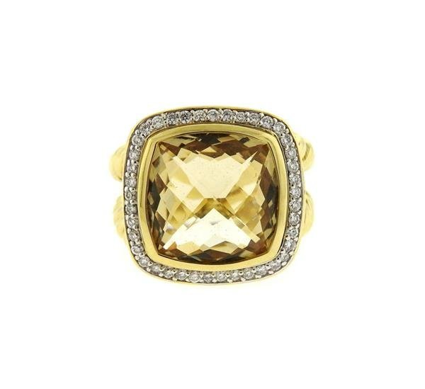 David Yurman 18k Gold Diamond Citrine Albion Ring