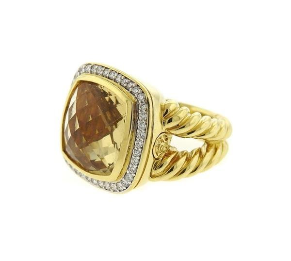 David Yurman 18k Gold Diamond Citrine Albion Ring - 2