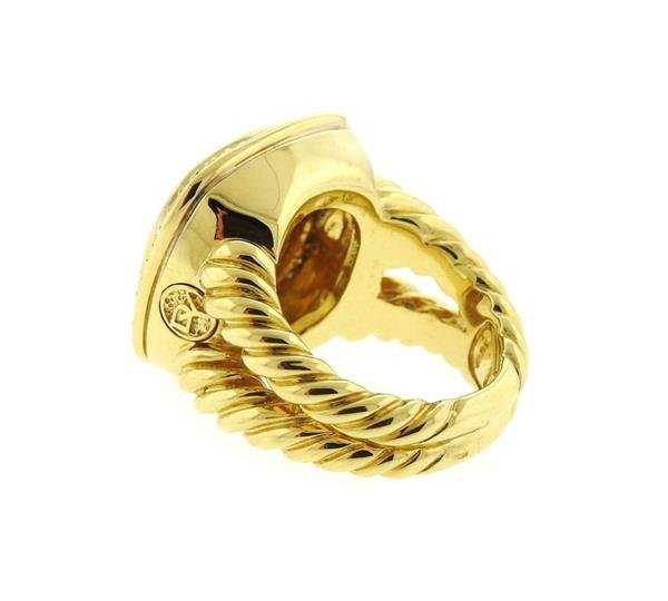 David Yurman 18k Gold Diamond Citrine Albion Ring - 3