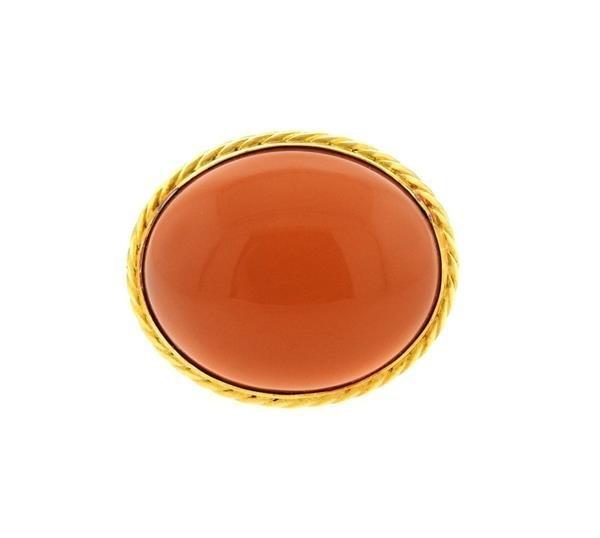 David Yurman 18k Gold Peach Moonstone Ring