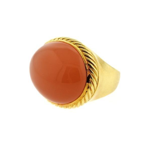 David Yurman 18k Gold Peach Moonstone Ring - 2