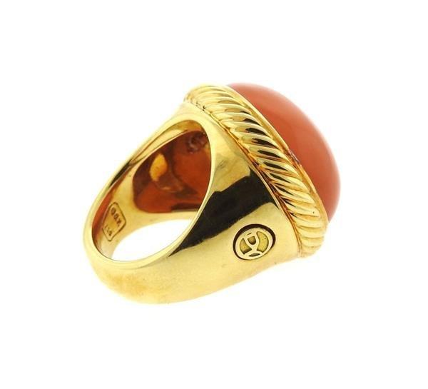 David Yurman 18k Gold Peach Moonstone Ring - 3
