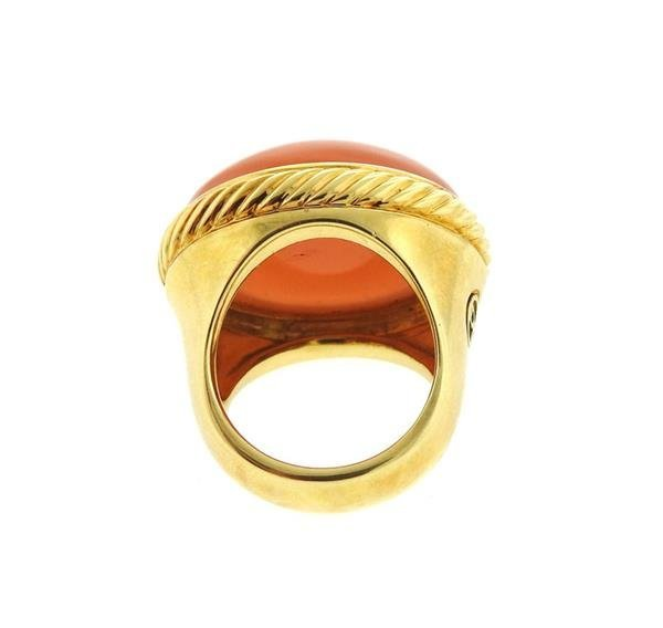 David Yurman 18k Gold Peach Moonstone Ring - 4